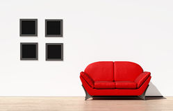 Red couch on a white wall. A red couch or sofa sitting against a white wall royalty free illustration