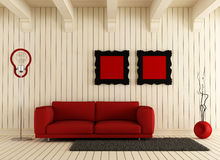 Red couch in wooden room Royalty Free Stock Photos