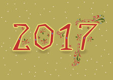 2017. Red country symbols with floral decor. Happy New Year 2017. Calendar template. Red, hand drawn symbols with floral decor. Country font. Celebration vector illustration