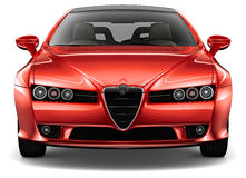 Red coupe - front view Royalty Free Stock Photo