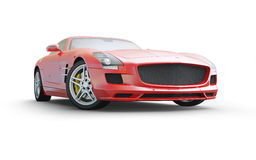 Red coupe sport car on white background Royalty Free Stock Photo
