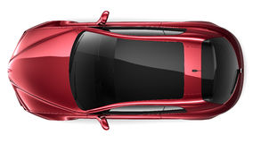 Red coupe - top view Stock Photos