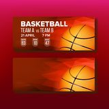 Red Coupon On Basketball Game Template Vector. Modern Bright Ticket For Visit International Basketball Match. Orange Ball With Black Stripes, Gate, Raw And royalty free illustration
