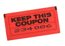 Red coupon ticket. With number isolated on white Stock Photo