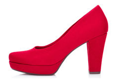 Red court shoe. Red court shoe,  on the white background, clipping path included Royalty Free Stock Photos