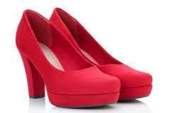 Red court shoes. Red court shoes, isolated on the white background, clipping path included stock photo