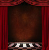 Red courtain. Theatre stage with red courtains and black and white floor Stock Images