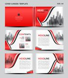 Red Cover design and inside template for magazine, ads, presentation, annual report, book, leaflet, poster, catalog, printing. Media, newsletter, business royalty free illustration