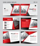 Red Cover design and inside template for magazine, ads, presentation, annual report, book, leaflet, poster, catalog, printing. Media, newsletter, business Stock Images