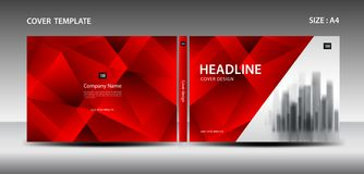 Red Cover design template for magazine, ads, presentation, annual report, book, leaflet, poster, catalog, printing media Royalty Free Stock Images