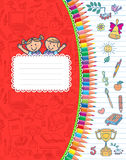 Red cover school notebook in stripes.  Stock Photography