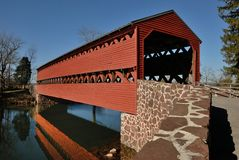 Red covered bridge Royalty Free Stock Image