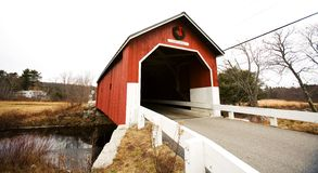 Red Covered Bridge. Covered Red Bridge in a Country Lane Royalty Free Stock Photography