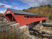Red covered bridge entrance Stock Photos