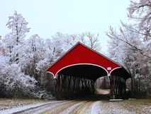 Red covered bridge among frostry trees Stock Photo