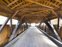 Red covered bridge interior stock photos