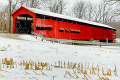 Red Covered Bridge Midwinter Stock Photos