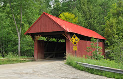 Red Covered Bridge. Red bridge over Sterling Brook in Morristown, Vermont Stock Photography