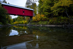 Red Covered Bridge and Pond - Autumn / Fall - Vermont Royalty Free Stock Photos