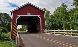 Red Covered Bridge - Shimanek Royalty Free Stock Image