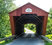 Red Covered Bridge Vermont Stock Photo