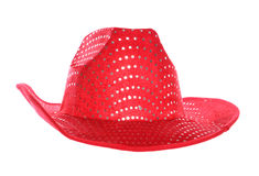 Red cowboy hat. Red cowboy fancy dress hat Stock Photos