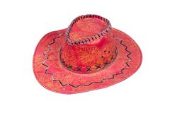 Red cowboy hat isolated. On white background royalty free stock photography