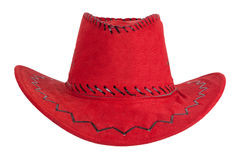 The red cowboy hat with leather trim Royalty Free Stock Photography