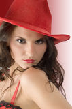 Red cowgirl hat Royalty Free Stock Photos