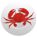 Red crab. Boiled red crab on the white plate plate Royalty Free Stock Image