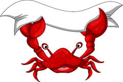 Red crab cartoon with blank banner