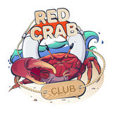 Red Crab Club. Creative vector logo marine theme with a red crab and life buoy on a background of waves with the inscription: Red Crab Club royalty free illustration