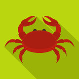 Red crab icon, flat style Royalty Free Stock Photos