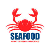 Red Crab Icon For Seafood Shop Or Cafe Design Stock Photography