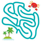 Red crab and island with palm trees on white background  labyrinth game for Preschool Children. Vector Royalty Free Stock Photos