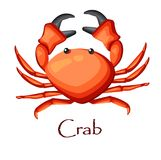 Red crab with large tentacles. Vector cartoon illustration. Red crab with large tentacles. Inhabitants of the seas and oceans. Vector cartoon illustration Stock Photo