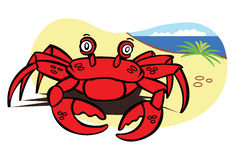 Red crab on marine sand. Vector illustration Stock Photo