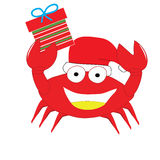 Red crab put christmas hat and gift box happy isolated Stock Photos