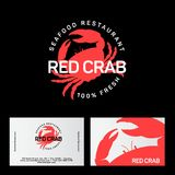 Red Crab restaurant logo. Seafood restaurant emblem. Identity. Business card. Seafood deli. Fresh seafood Stock Photography