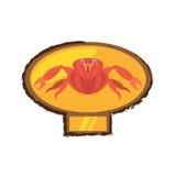 Red crab sea life marine golden emblem Royalty Free Stock Photos