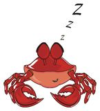 Sleeping crab and letters. Red crab sit with closed eyes and many letters z fly around Stock Images