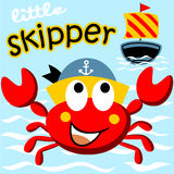 Red crab. The skipper with little sailboat, vector cartoon illustration vector illustration