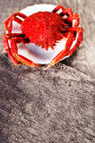 Red Crab / Steamed crab on wooden background. Delicious seafood Royalty Free Stock Photo