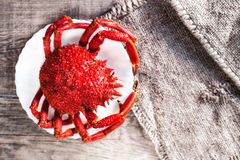 Red Crab / Steamed crab on wooden background. Delicious seafood Royalty Free Stock Images
