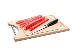 Red crab stick on wooden board. Stock Images