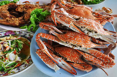 Red crabs on a plate. Stock Image