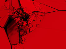 Red cracked surface background. Broken shape wall destruction. 3d render illustration stock illustration