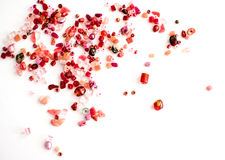 Red craft beads Royalty Free Stock Images