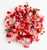 Red craft beads Royalty Free Stock Photography