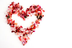 Red craft beads in a heart shape Stock Photo